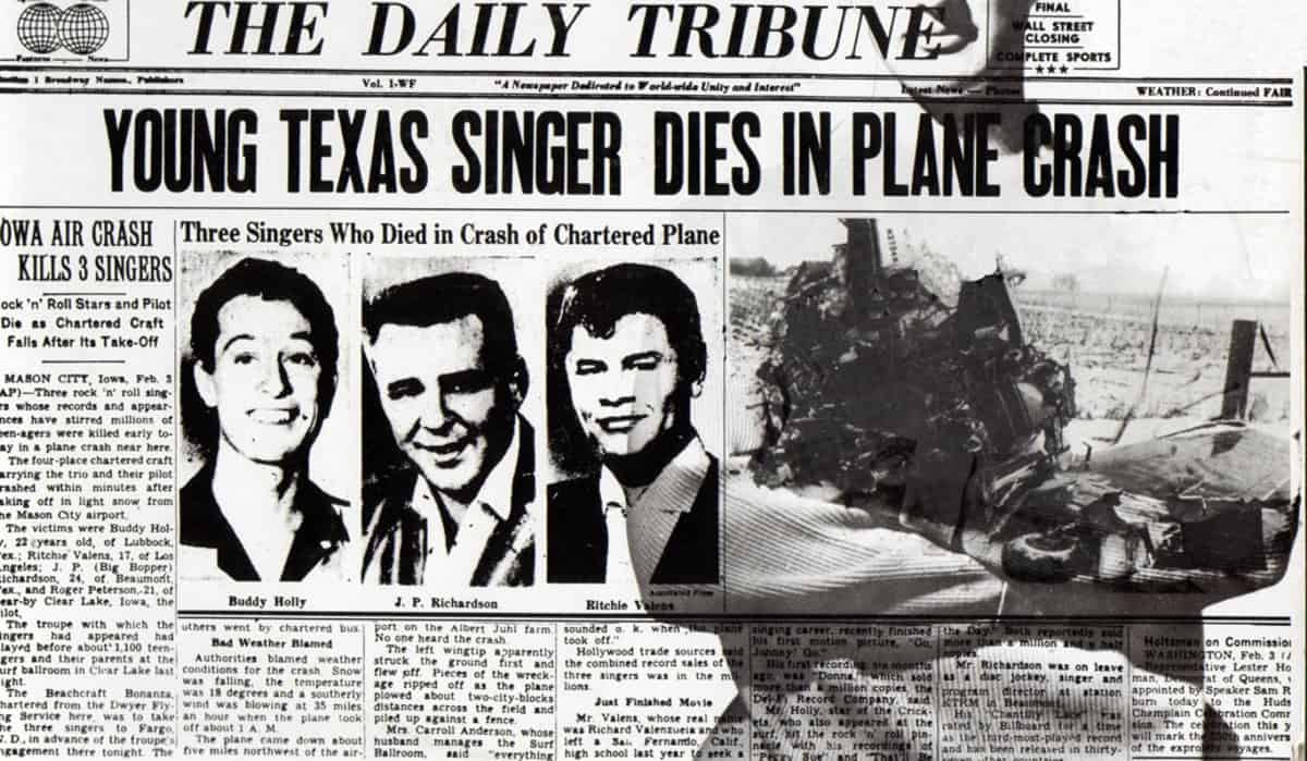Buddy Holly, Big Bopper und Ritchie Valens starben bei einem Flugzeugsbsturz